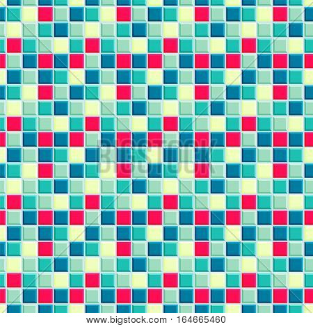 Bright pattern consisting from red, light and dark emerald, light yellow and vivd blue squares