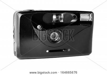 35mm film compact mechanical analog camera isolated on white background