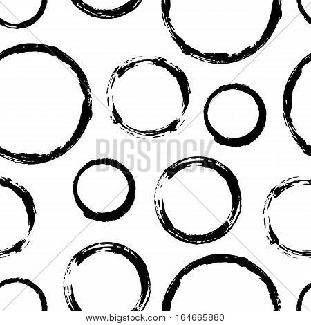 Seamless pattern with grunge circles. Hand drawn round shapes background. Black white brush stroke texture. Geometric graphic design element. Scrapbook wallpaper. Vector illustration