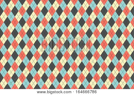 Classic argyle seamless pattern for textile, paper print. Vector illustration. Blue grey red beige