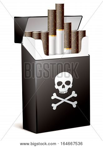 Black pack of cigarettes with the image of the Jolly Roger (human skull with the crossed bones). Smoking is bad for your health. Isolated on white background. Vector illustration eps 10