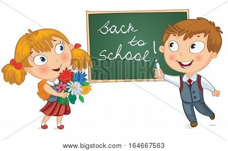 Back to school. Young boy wrote in chalk on blackboard. Little girl holding a bouquet of flowers. Vector illustration