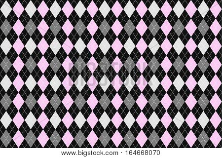 Classic argyle seamless pattern for textile, paper print. Vector illustration. Pink grey