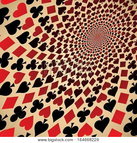 Card suit. Hearts, diamonds, spades and clubs. Playing cards. Op art