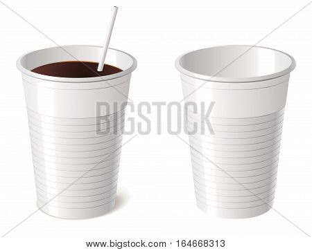 Disposable cup, isolated on white background, vector illustration