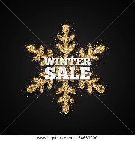 Winter Sale Banner. Gold Glitter Snowflake, Vector Illustration