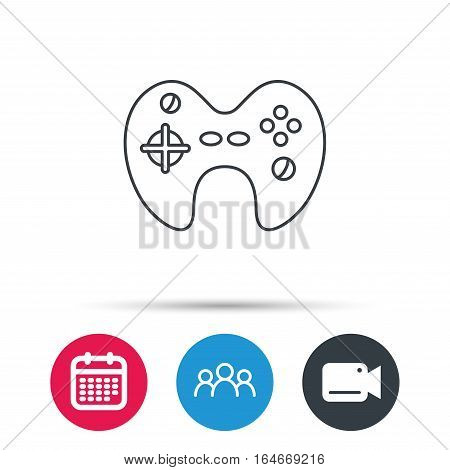 Joystick icon. Video game sign. Group of people, video cam and calendar icons. Vector