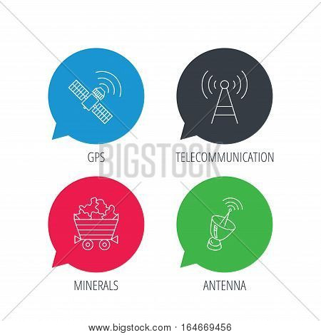 Colored speech bubbles. Telecommunication, minerals and antenna icons. GPS satellite linear sign. Flat web buttons with linear icons. Vector