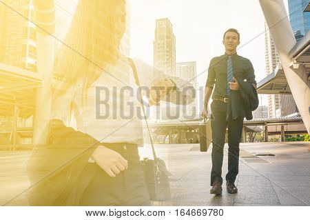 Double Exposure of Young Adult Businessman Walking with Business Woman Looking to Watch as Urban City People Lifestyle Concept. Late Appointment Dating Feel of Working Love Couple.