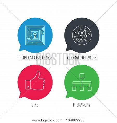 Colored speech bubbles. Global network, like and hierarchy icons. Maze linear sign. Flat web buttons with linear icons. Vector