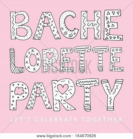 Bachelorette party pink invitation card illustration design