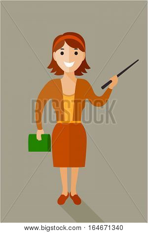 Confident and friendly business woman standing full length isolated and smiling. Female office worker character smiling