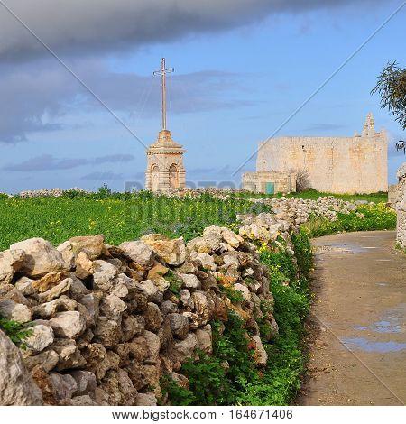 Malta s landscape near Laferla Cross lookout,Malta