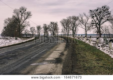 Late autumnal gloomy landscape with remote road in central Ukraine