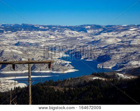 Deer Creek Reservoire From Peak Of Sundance Mountain