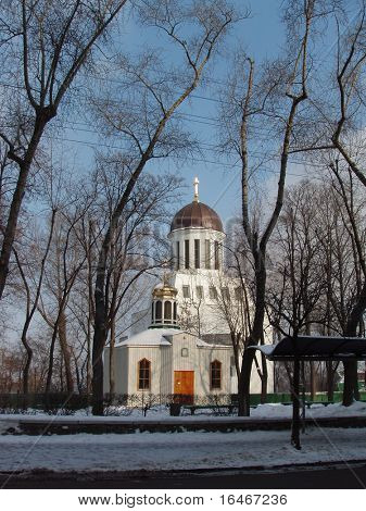 church with trees around it in winter