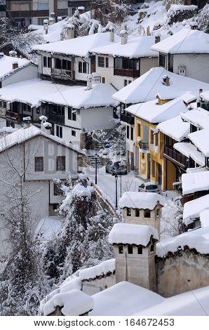 VELIKO TARNOVO BULGARIA - JANUARY 9 2017: Aerial view of General Gurko Street on the winter day