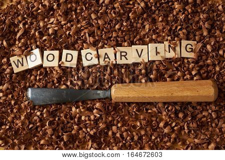 Woodworking word writen with letters on wood chips and a chisel