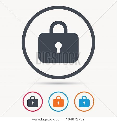 Lock icon. Privacy locker sign. Closed access symbol. Colored circle buttons with flat web icon. Vector