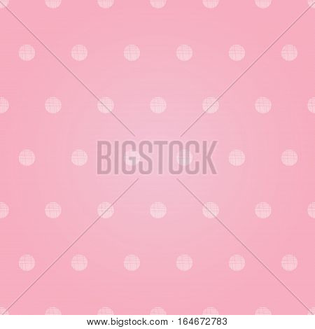 Vector Vintage Pastel Pink Baby Girl Polka Dots Circles Seamless Pattern Background With Fabric Texture. Perfect for girly nursery, birthday, circus or fair themed designs. Surface pattern design.