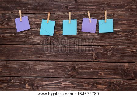 Collection Of Various Note Papers On Rustic Wood Planks.