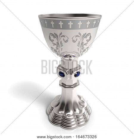 Silver chalice on white background 3D rendering