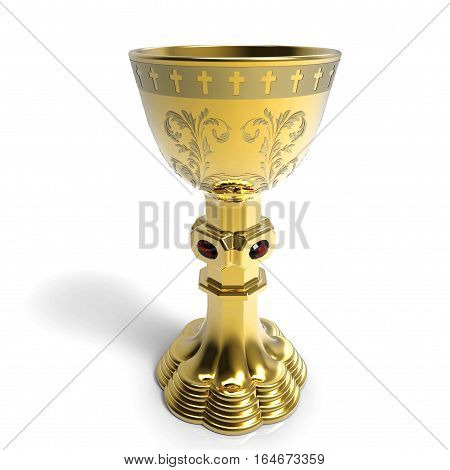 Golden chalice on white background 3D rendering