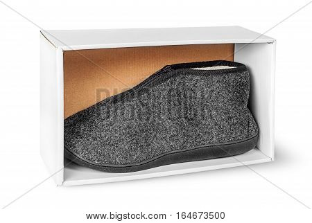 Single slipper in white cardboard box isolated on white background