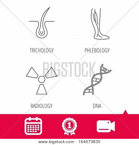 Achievement and video cam signs. Phlebology, trichology and DNA icons. Radiology linear sign. Calendar icon. Vector