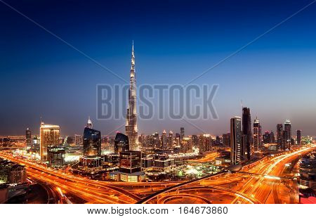 Amazing Sunset Dubai Downtown Skyline With Tallest Skyscrapers And Beautiful Blue Sky, Dubai, United