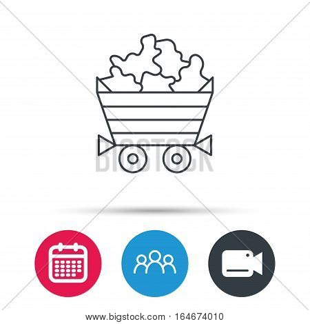 Minerals icon. Wheelbarrow with jewel gemstones sign. Group of people, video cam and calendar icons. Vector