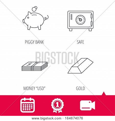 Achievement and video cam signs. Piggy bank, cash money and safe icons. Gold bar linear sign. Calendar icon. Vector