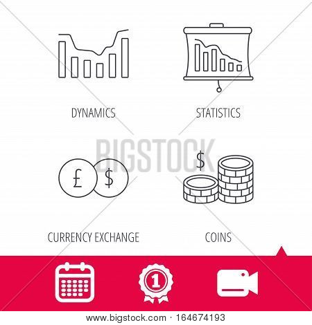 Achievement and video cam signs. Banking, cash money and statistics icons. Dynamics, currency exchange linear signs. Calendar icon. Vector