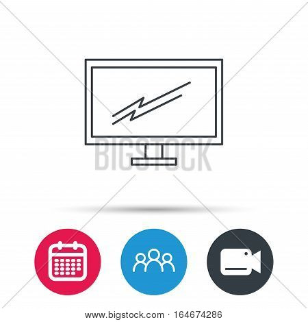 PC monitor icon. Led TV sign. Widescreen display symbol. Group of people, video cam and calendar icons. Vector