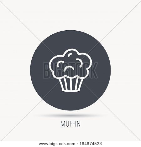 Muffin icon. Cupcake dessert sign. Bakery sweet food symbol. Round web button with flat icon. Vector