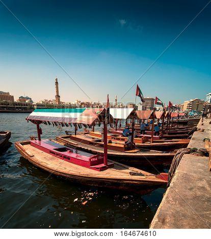 Traditional Abra Taxi Boats In Dubai Creek - Deira During Sunny Day, Dubai Deira, United Arab Emirat