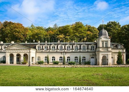 Naleczow Poland - September 28 2008: Front view of the Old Bath-House of the spa resort built early XIX century