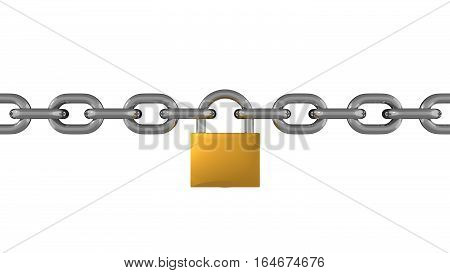 Metal Chain Line With Padlock Isolated 3D Rendering