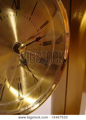 closeup of golden clock