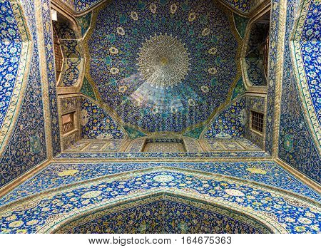 Isfahan Iran - October 20 2016: Details of Shah Mosque also called Imam mosque in Isfahan city Iran