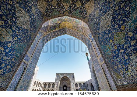 Isfahan Iran - October 20 2016: Main courtyard of Shah Mosque also called Imam mosque in Isfahan city Iran