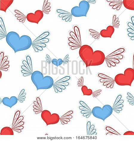 Happy Valentines Day seamless pattern with hearts vector illustration. Red and blue hearts with wings isolated on white background. Romantic celebration template