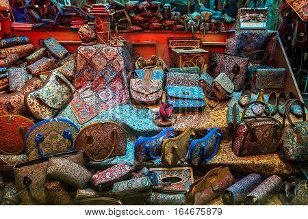 Yazd Iran - October 21 2016: Shop window with persian bags and shoes in Yazd city Iran