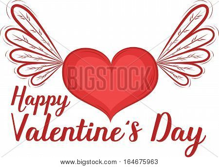 Happy Valentines Day greeting card with heart vector illustration. Red heart with wings isolated on white background. Romantic celebration template