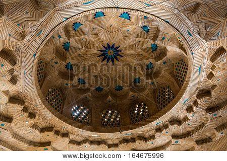 Shiraz Iran - October 23 2016: Part of Shah Cheragh Mosque and mausoleum Ahmadi square in Shiraz city in Iran
