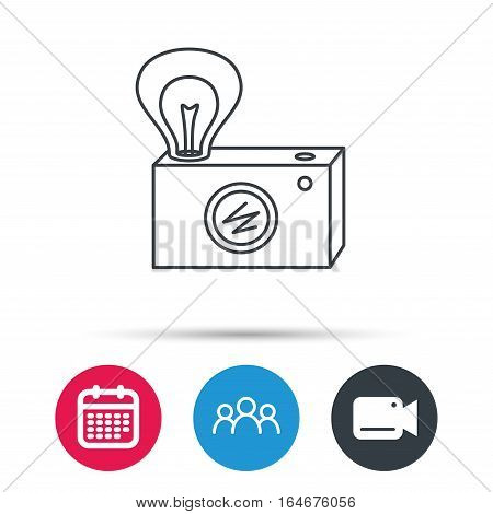 Retro photo camera icon. Photographer equipment sign. Camera with lamp flash. Group of people, video cam and calendar icons. Vector