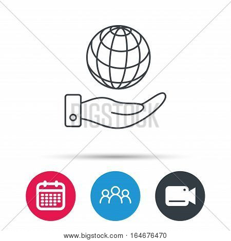 Save planet icon. Hand with globe sign. Ecology environment symbol. Group of people, video cam and calendar icons. Vector