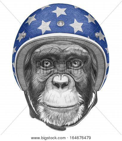 Portrait of Monkey with Helmet. Hand drawn illustration.