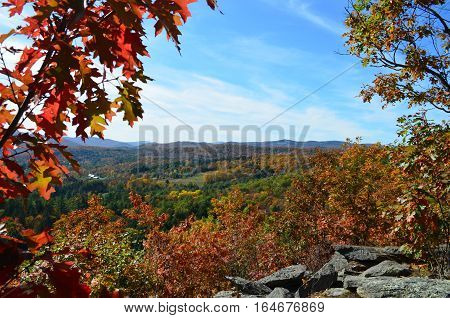Autumn landscape view from mountaintop in Vermont
