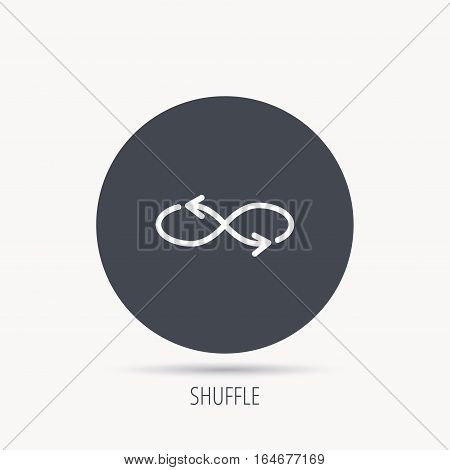 Shuffle icon. Mixed arrows sign. Randomize symbol. Round web button with flat icon. Vector